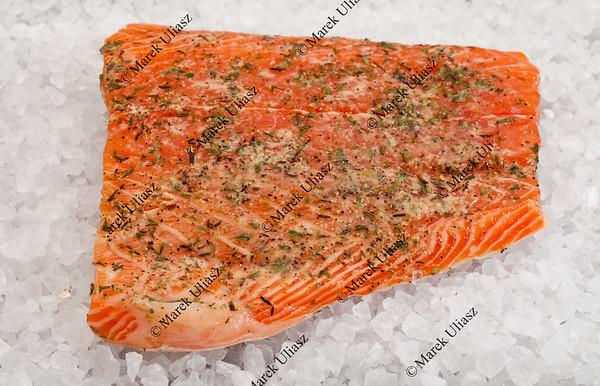 salmon on rock salt