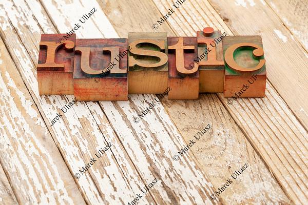 rustic word in letterpress type
