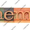 anemia word in letterpress type