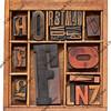 antique letterpress type in wooden box