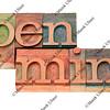 open mind in letterpress type