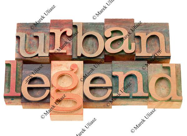 urban legend in wood letterpress type