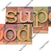 super food - words in letterpress type