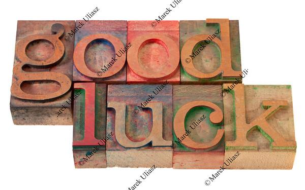 good luck- phrase in letterpress type