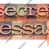secret message in letterpress type