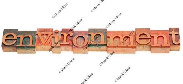 environment in letterpress type