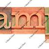 example word in letterpress type