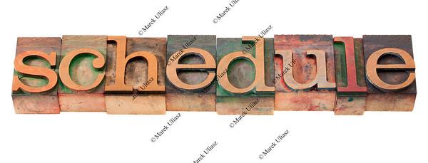 schedule word in letterpress type