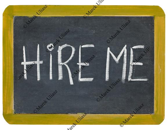 hire me blackboard sign