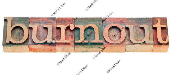 burnout word in letterpress type