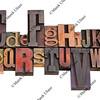 alphabet in letterpress printing blocks