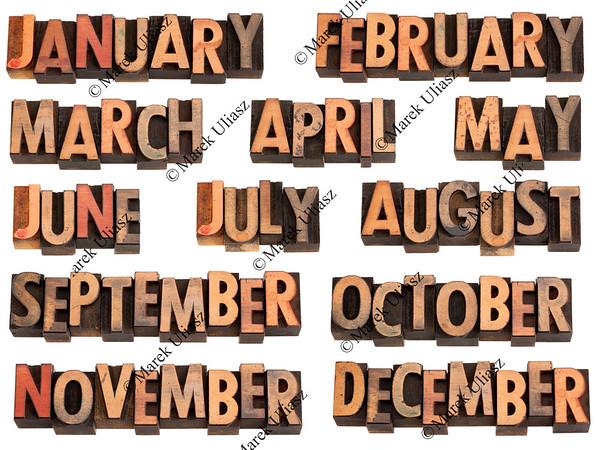 months in letterpress type