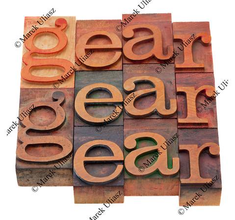 gear - word in letterpress type
