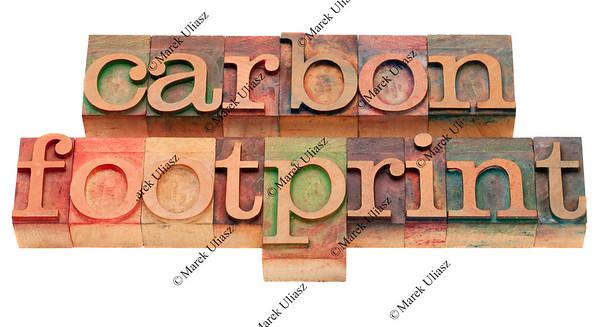 carbon footrpint - word sin letterpress type