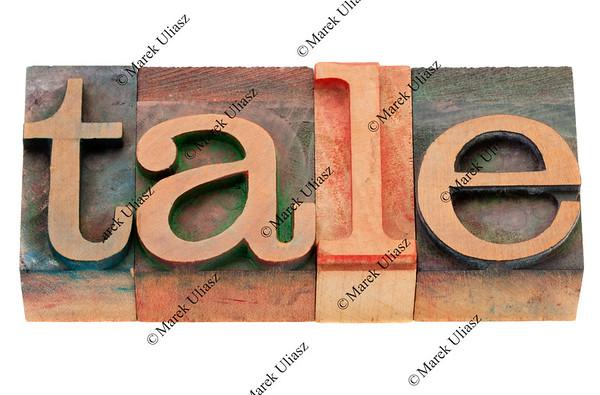 tale word in letterpress type