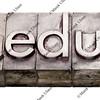 dot edu - internet domain in letterpress type