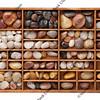 river pebbles in typesetter drawer