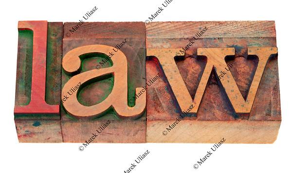 law - word in letterpress type