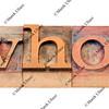 who question in letterpress type