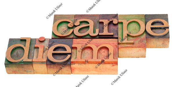 carpe diem in letterpress type