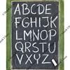 alphabet in chalk on blackboard