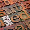 dollar sign in letterpress type