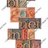 internet domains in letterpress type