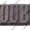 doubt - word in letterpress type