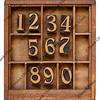 numbers in letterpress type