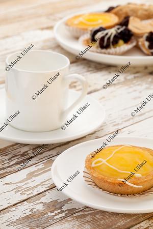 lemon tart and coffee