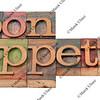 bon appetit - phrase in old letterpress type