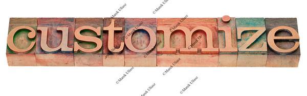 customize - word in letterpress type