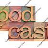 podcast in letterpress type