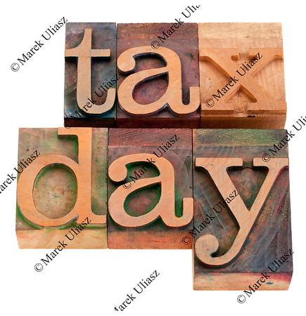 tax day iwords in letterpress type