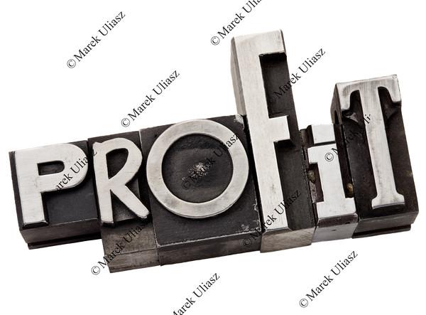profit word in metal type