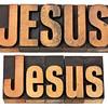 Jesus word in wood type