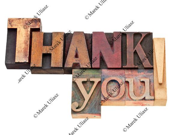 thank you in letterpress type