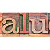 value word in letterpress type