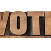 vote word in wood type