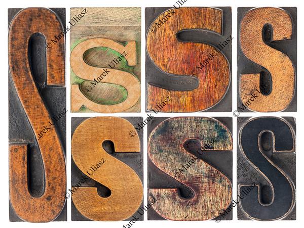 letter S in wood type blocks