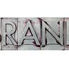 brand word in metal type