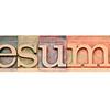 resume word in letterpress wood type