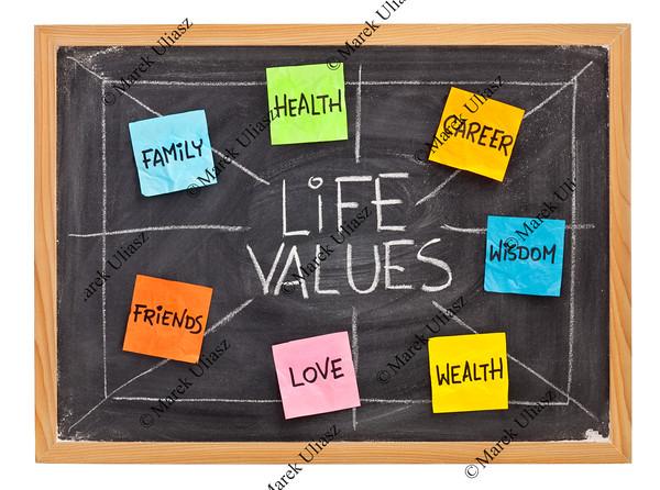 life values concept on blackboard