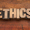 ethics word in wood type