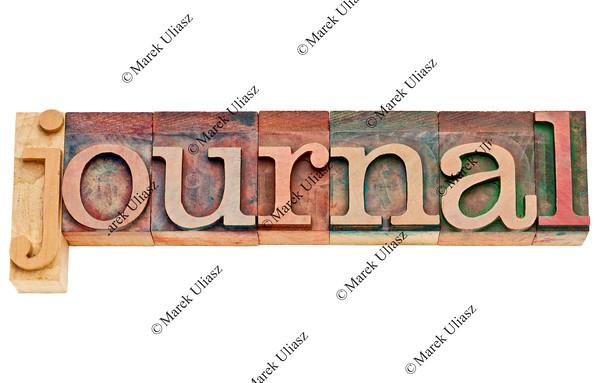 journal word in letterpress wood type