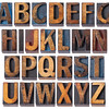 alphabet in antique wood type