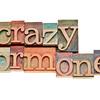 crazy hormones text  in wood type