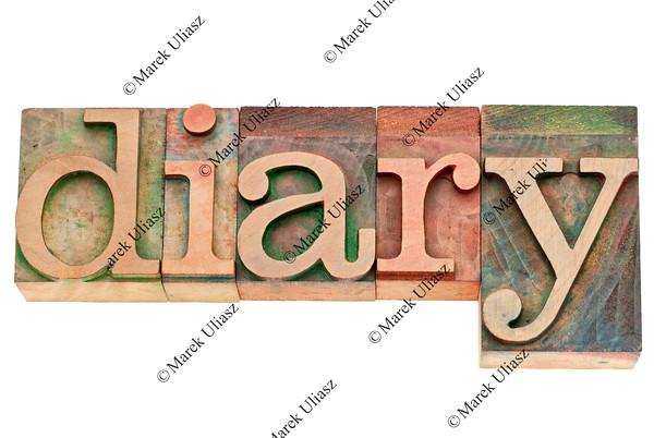 diary word in letterpress wood type