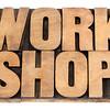 workshop word in wood type