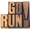 go run in letterpress wood type